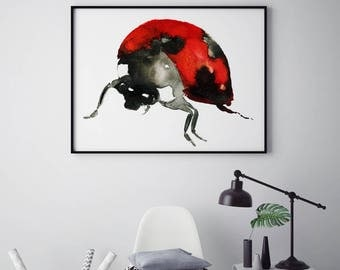 Ladybird Ladybug illustration Painting perfect gift for animal lover or kids room wall art red inky watercolor watercolours boho ANY SIZE