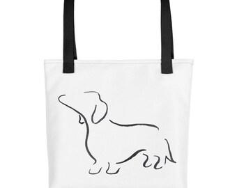 Daschund Tote Bag, Market Bag, Library Tote, Sausage Dog Tote, Dashund Gift, Dog Lover, Gifts for her, Pet Tote Bag, Dog Print Bag, Caryall