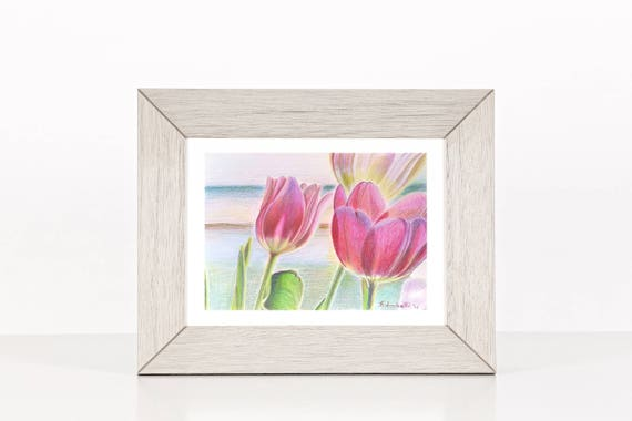 Tulips, original drawing by Francesca Licchelli, romantic gift idea for her, little girl birth, bedroom becoration, handmade wall art.