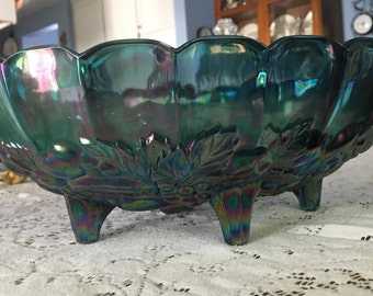 """Blue Carnival Glass Large Fruit Bowl in """"Harvest"""" Pattern by Indiana Glass, c. 1970"""