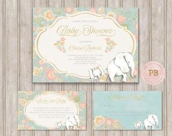 Elephant Baby Shower Invitation, Elephant First Birthday Invitation, Elephant Books for Baby Card, Elephant Diaper Raffle Card