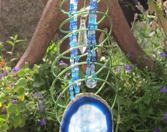 Blue Agate Swirl Abstract Sun Catcher - #5911
