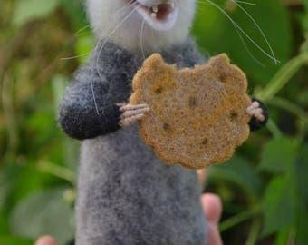 Felted possum Needle Felt opossum realistic Felted miniature Wool felt Needle felted animals Needle felted mouse Needle felting toy Felt rat
