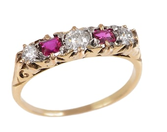 Vintage 5 Stone Ruby and Diamond Ring