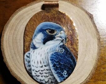 Peregrine falcon, miniature on copper