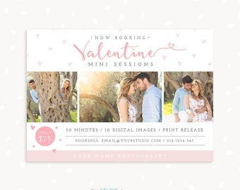 Valentine Mini Session Template, Valentine Marketing Board, Valentine's Day Photoshop Template, Photography Marketing, Romantic mini session