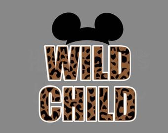 Wild Child with Mickey/Minnie Ears Disney Decal Cheetah Safari Magic Kingdom Animal Print Minnie Mouse Disney Iron On Vinyl for Shirt 129