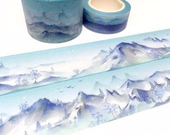blue mountain ice hill washi tape 5M x 3cm snow nature scenes wide tape Masking tape winter scenes winter landscape sticker tape decor gift