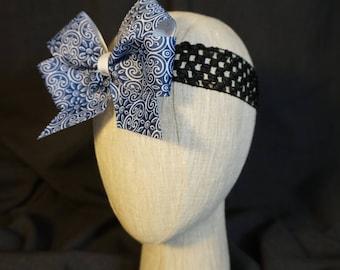 Blue Paisley Bow on Black Elastic Headband; Baby; Infant