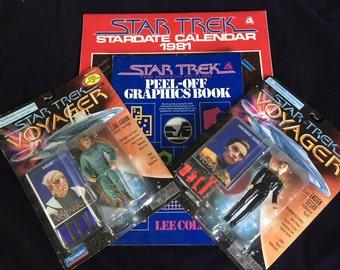 Vintage 4 pc. Star Trek Bundle/1981 Star Trek Calendar/2 Star Trek: Voyager Figures/Star Trek Peel-Off Graphics Book