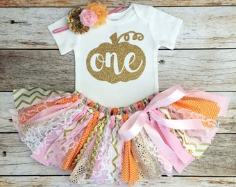 Pumpkin Fall Birthday Outfit with Headband, Pink Orange and Gold Fall Birthday Outfit, Pumpkin Birthday Outfit, Fall Theme Tutu