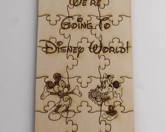 We're Going To Disneyland or Disney World Puzzle - Basswood Lasered Jigsaw Puzzle Fun Kids Put Together Surprise Trip
