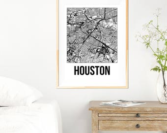 Houston City Map Print - Black and White Minimalist City Map - Houston Map - Houston Print - Many Sizes/Colours Available