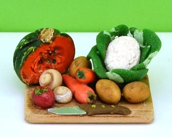 Miniature Chopping-board with Vegetables, Doll House Vegetables, Miniature Food