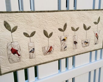 Seed Sprouts Plant Quilt, Bird Decor Fabric Vases Table Topper, Quilted Wall Hanging Table Runner