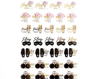 Shopping,Me Time,Sleep in,Lazy Day Stickers//Foiled Functional Stickers!//SINGLE SHEET//F06