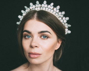 headdress, lace crown, bohemian crown, diadem, lace tiara, lace headpiece, hair accessories, bridal lace headdress, tiaras, lace headband