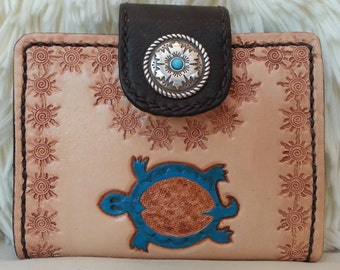 Southwest HandTooled Leather Wallet, Petite ID/Coin Leather Wallet, 8 Credit Card/2 Money Pocket Interior, HandCrafted