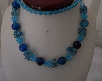 Vintage Blue Glass Bead Necklace #304