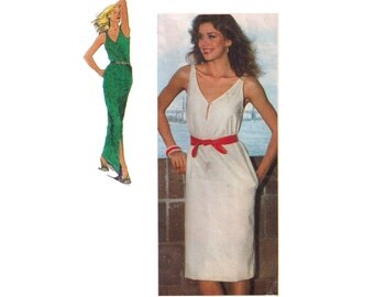 Simplicity 9371, 80s sewing pattern, size 14 women's pullover dress pattern, scoop neck, leg slit maxi dress