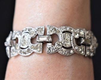 "Vintage Pave Rhinestone Art Deco Style Bracelet Retro Boho Mid Century Costume Estate Jewelry 6.5"""