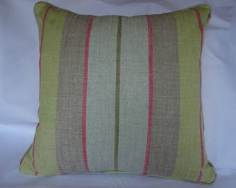 Stripe cushion cover in soft lime and aqua, 18ins x 18ins.