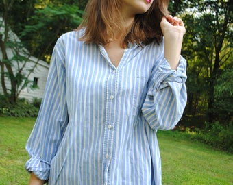Vintage Blouse, Cotton Blouse, Vintage Shirt, Vertical Striped Shirt, Blue Chambray Shirt, 90s Overshirt, Cabin Creek, Vintage Clothing