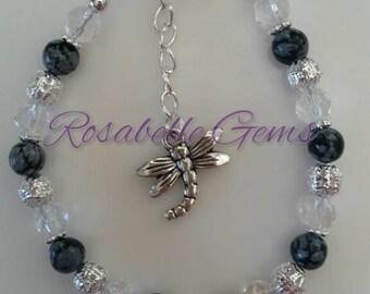 Snowflake Obsidian, Bracelet, Gemstone Bracelet, Crystal Bracelet, Crystal Healing, Black, Obsidian Bracelet, Gift For Her, Gift For Mum