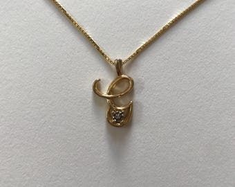 "Gold Vermeil 14K Gold Over Sterling Silver ""G"" Diamond Chip Pendant Necklace"