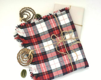 New Premium 100% Cotton Holiday Plaid Flannel Scarf! American Made Red Blue Gold