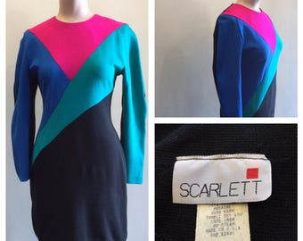 Dress Color Block 1980's Scarlett