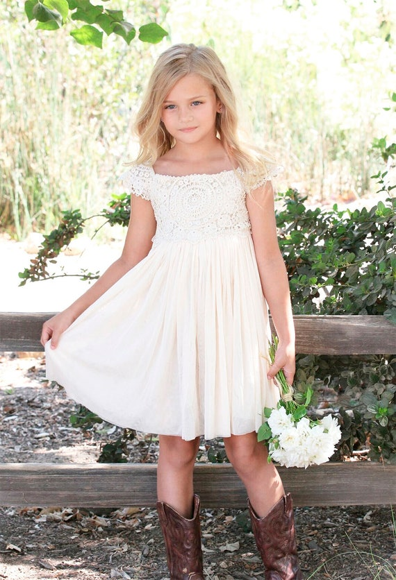 Country Flower Girl Dress, Rustic Ivory /Cream Crochet Girls Dress, Lace Crochet Bohemian Boho Flower girl, Rustic Lace Crochet Girl Dress