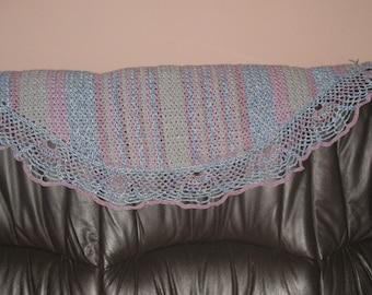 Crochet shawl pink blue