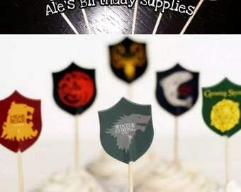 24 Pc Game of Thrones Toppers Double Sided Birthday Party Supplies
