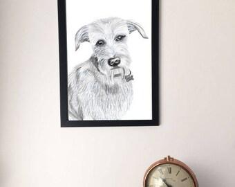 Framed Dog Drawing, Artwork Print, A4/A3