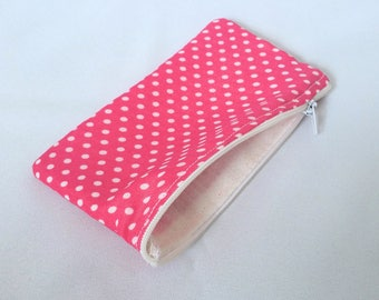 Pink polka dot Pencil case, Zipper pouch, Back to school, Make-up bag, Cosmetic pouch, Small, Coin purse