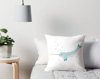 Narwhal, narwhales, Narwhal plush, ocean pillow, ocean throw pillow, sea nursery, sea nursery decor, ocean nursery decor, unicorn of the sea