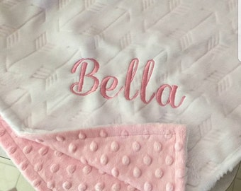 MInky Baby blanket Girl Personalized baby blanket Girl-Arrow Tribal minky baby blanket-White Pink arrow baby blanket-White baby blanket
