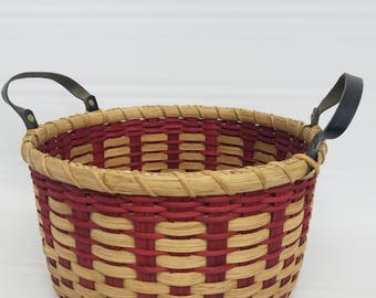 BASKET, handwoven, handmade, reed, storage basket, organization, farmhouse, primitive, gift, decor, household, rustic, ooak