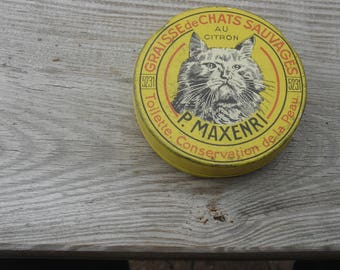 Rare boite tole graisse de chats sauvage au citron . Rare Old tin box with grease of wild cats. Vintage. France