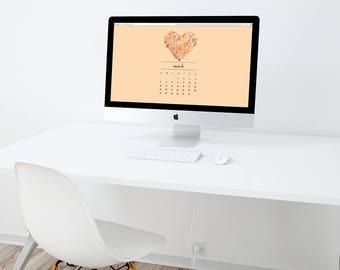 2018 Computer Desktop Wallpaper Calendar, 1920x1080pixels, Peach with Heart and leaves, New year Calendar, Desktop Calendar, wallpaper