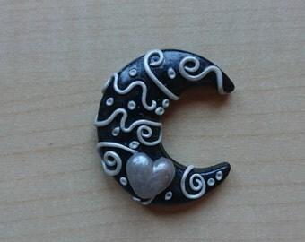 Moon Pendant. Silver Moon. Handmade. Moon. Night