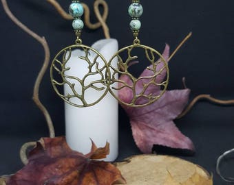 Earrings Tree of Life - African turquoise tree of life - Bohemian - hippie - gypsy - nature