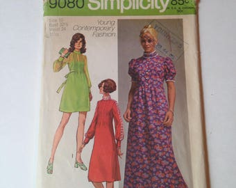 Vintage Simplicity 9080 Young Contemporary Fashion One Piece Dress in 3 Lengths Cut Sewing Pattern Size 10