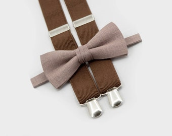 Tan Bow Tie & Brown Suspenders, Toddler Suspenders And Bow Tie, Toddler Wedding Outfit