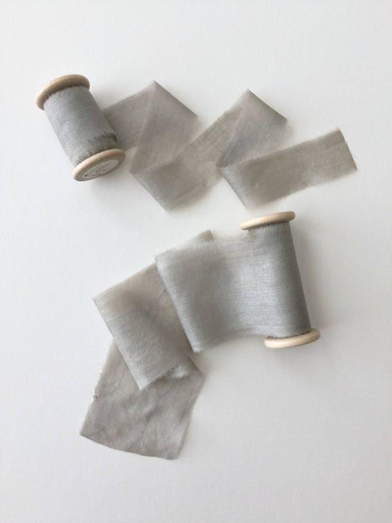 DOVE GRAY Natural Dyed Silk Ribbon