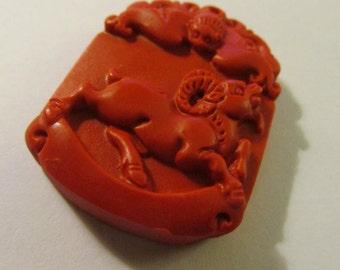 """Chinese Red Cinnabar Zodiac-Aries-Ram-Sheep-Animal Pendant, 1 1/2"""""""