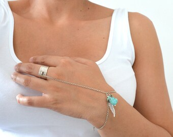 Turquoise Silver Bracelet Ring, Boho Slave Bracelet Ring, Ring Bracelet, Slave Bracelet Hand Chain Ring Native American Turquoise jewelry