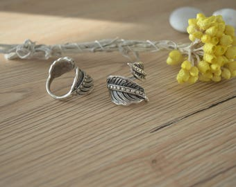 Bohemian Silver Plated Feather Leaf Knuckle Ring, Silver Knuckle Midi leaf ring, Silver Stackable Adjustable Ring, US size 7-8.5 inch