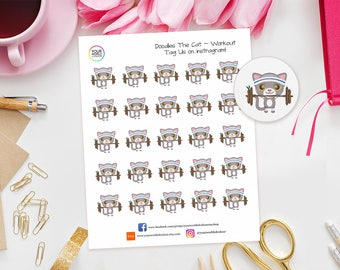 Doodles Cat Workout Planner Stickers perfect for Erin Condren, Kikki K, Happy Planner, Kate Spade, Filofax, Fitness, Gym, Animals, Health